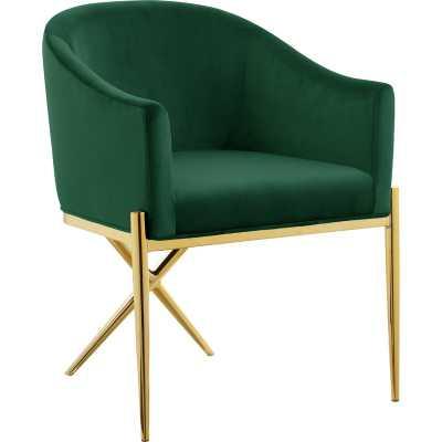 Cesar Upholstered Dining Chair - Green, Gold - Wayfair