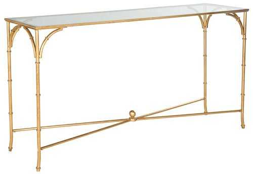 Maurice Gold Tempered Glass Top Console Table, Gold/Tempered Glass Top - Arlo Home