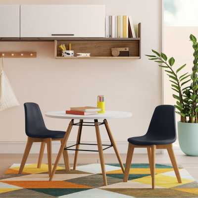 Adalwen Kids 3 Piece Round Table and Chair Set- gray - Wayfair