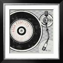 "Vintage Analog Record Player- 24"" x 24"" Art Print- Allegro Silver Wide 2.25"" Frame- Crisp - Bright White 2.5"" Mat- Acrylic: Clear - art.com"