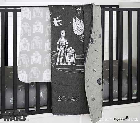 Star Wars(TM) Quilt Set With Allover Sky Crib Fitted Sheet - Pottery Barn Kids