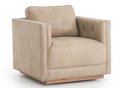 CONSTANCE LEATHER SWIVEL CHAIR, NATURAL - Lulu and Georgia