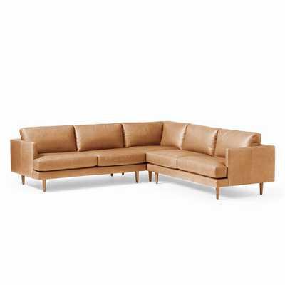 Haven Loft Set 03: Left Arm Sofa, Corner, Right Arm Sofa, Trillium, Vegan Leather, Saddle, Pecan - West Elm