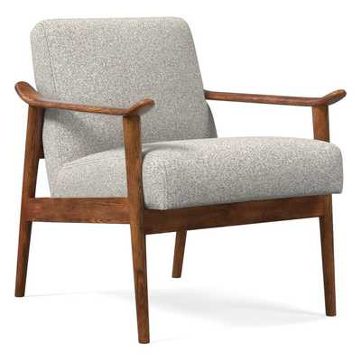 Mid-Century Show Wood Chair, Chenille Tweed, Irongate, Pecan - West Elm