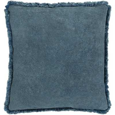"Reina Pillow Cover, 22""x 22"", Denim - Roam Common"