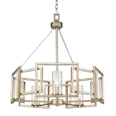 Golden Lighting Marco 5-Light White Gold Chandelier with Clear Glass Shade - Home Depot