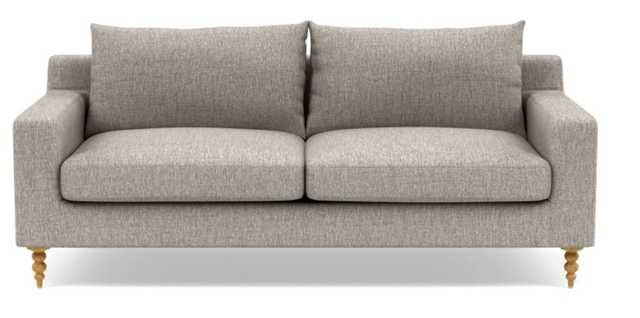 "SLOAN Fabric Sofa, Earth, 83"", Natural Oak turned wood leg - Interior Define"