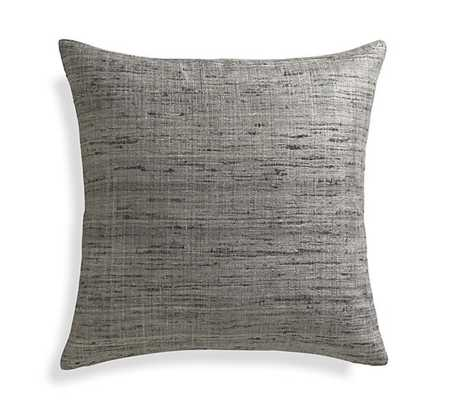 "Trevino Nickel Grey 20""l Pillow with Down-Alternative Insert - Crate and Barrel"