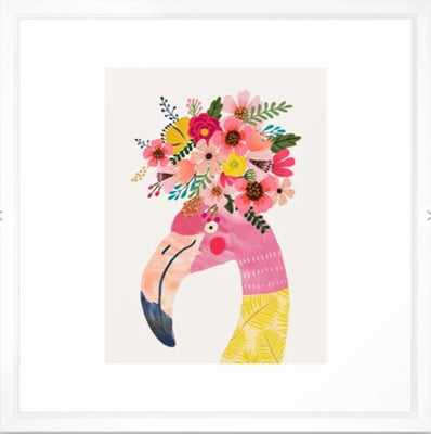 "Pink flamingo with flowers on head Framed Art Print - 22"" x 22"" - Vector White - Society6"