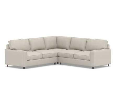 PB Comfort Square Arm Upholstered 3-Piece L-Shaped Corner Sectional, Box Edge Memory Foam Cushions, Performance Heathered Tweed Pebble - Pottery Barn