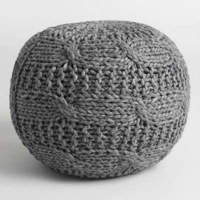 Charcoal Heather Gray Sweater Pouf - Wool by World Market - World Market/Cost Plus