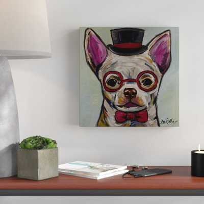 'Chihuahua Glasses New' Acrylic Painting Print on Wrapped Canvas - Wayfair