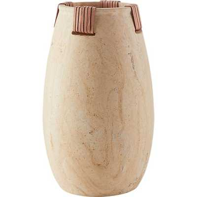 SEDONA SANDSTONE AND LEATHER VASE - CB2