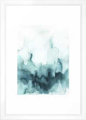 """Soft teal abstract watercolor Framed Art Print - 15x21""""- Vector White - Society6"""