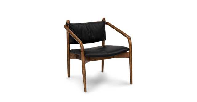 Lento Black Leather Lounge Chair - Article