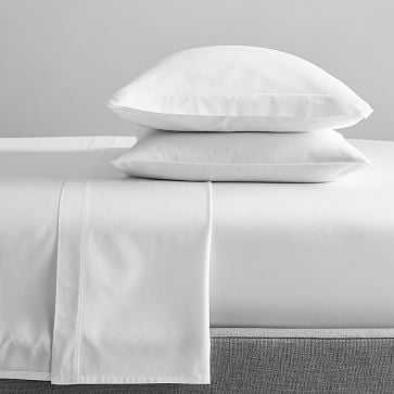400 TC Organic Sateen Sheet Set Full White on White - West Elm