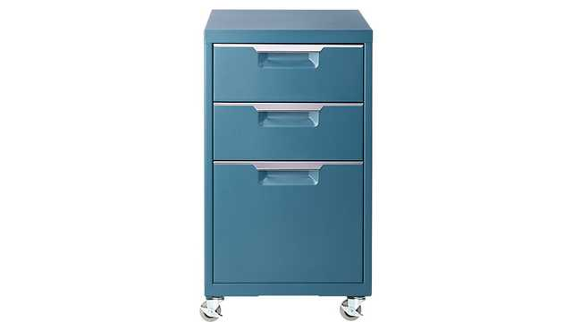 TPS teal 3-drawer filing cabinet - CB2