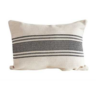 Farmer Stripe Lumbar Pillow - black cream - Shades of Light