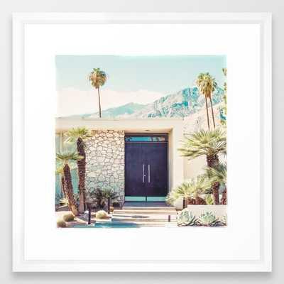 "Palm Springs Black Door Photography Print Framed Art Print 22""x22"" Vector White Frame - Society6"