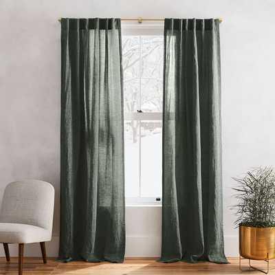 "Belgian Flax Linen Melange Curtain, 48""x96"", Olive - West Elm"