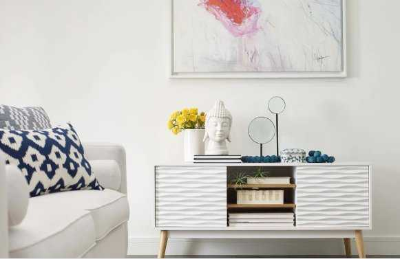 Elle Decor Aurie White Media Console - Overstock