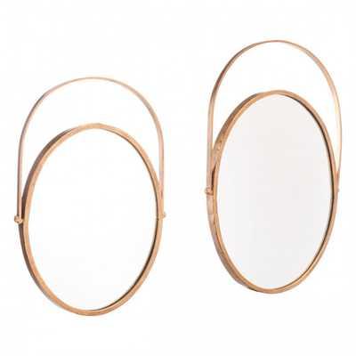Set Of 2 Oval Mirrors Gold - Zuri Studios