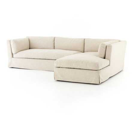 Dawn Slipcovered Left Arm Sofa with Right Chaise Sectional - Pottery Barn