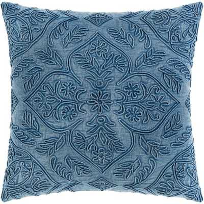 "Savanna Pillow, 18""x 18"", Blue - Roam Common"