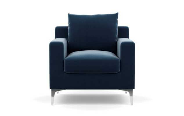 Sloan Chairs with Petite in Sapphire Fabric with Chrome Plated legs - Interior Define