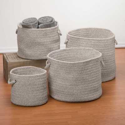 """Natural Wool Basket, Light Gray, 16""""x16""""x12"""" - West Elm"""