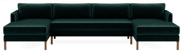 "Winslow 3-piece 4-Seat U-Sectional, 134"" length, malachite fabric, oiled walnut tall curved wood legs - Interior Define"