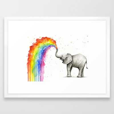 "Baby Elephant Spraying Rainbow Whimsical Animals Framed Art Print 622 by Olechka- 20"" X 26"" / vector white frame - Society6"