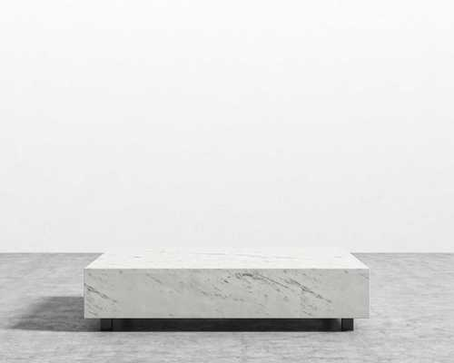 "Liza Coffee Table - White Marble, 40"" x 60"" - Rove Concepts"