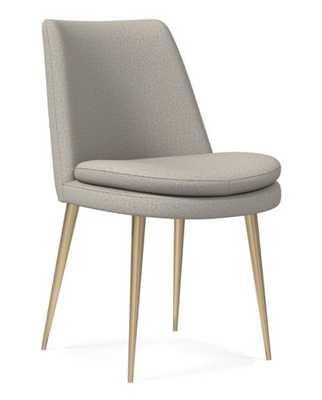 Finley Dining Chair, Low Back, Light Bronze Leg, Basket Slub, Feather Gray, Light Bronze - West Elm