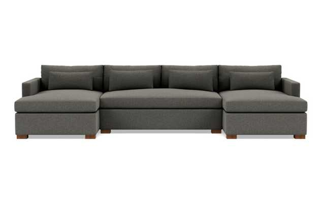 CHARLY 3-Piece U-Sectional, Steel - Heathered Weave, Oiled Walnut - Block Leg - Interior Define