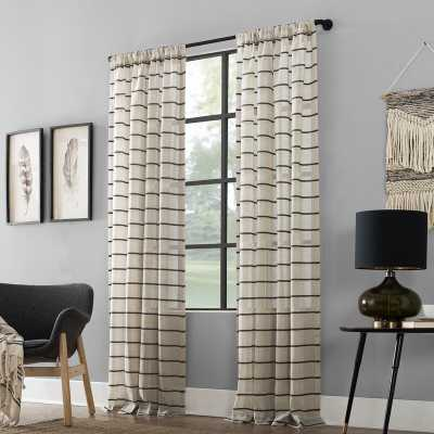 Twill Anti-Dust Striped Semi-Sheer Rod Pocket Curtain Panel - Wayfair