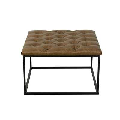 HomePop Draper Ottoman with Button Tufting - Light Brown Faux Leather - Overstock