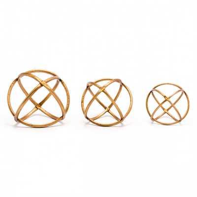 Quattro Set Of 3 Orbs Gold - Zuri Studios