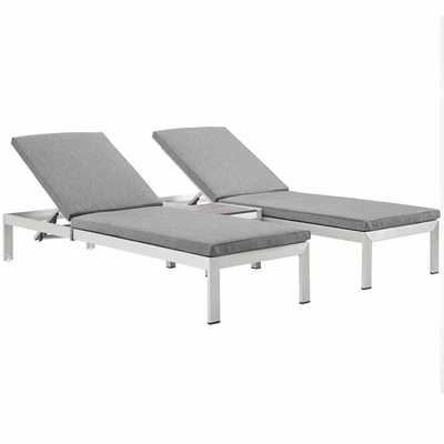 SHORE 3 PIECE OUTDOOR PATIO ALUMINUM CHAISE WITH CUSHIONS IN SILVER GRAY - Modway Furniture