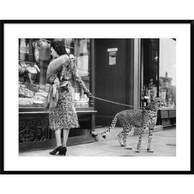 'Elegant Woman with Cheetah' Framed in Black & White - AllModern