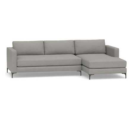 Jake Upholstered Left Arm 2-Piece Sectional with Chaise with Bronze Legs, Polyester Wrapped Cushions, Performance Heathered Basketweave Platinum - Pottery Barn