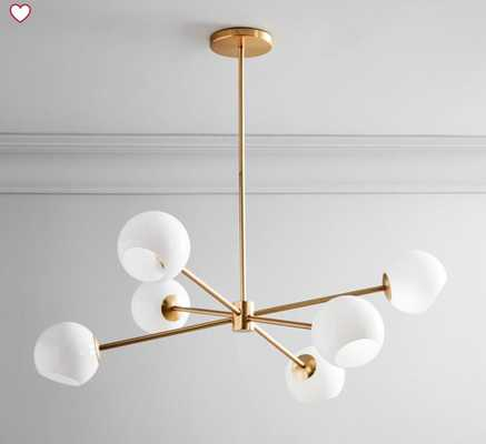 Staggered Glass 6-Light Chandelier - Milk with bulbs - West Elm