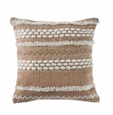 LR Home 20 in. x 20 in. Beige/White Neutral Textured Embroidered Standard Throw Pillow, Beige / White - Home Depot