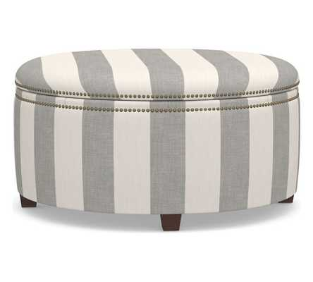 Tamsen Upholstered Round Storage Ottoman, Premium Performance Awning Stripe Light Gray/Ivory - Pottery Barn