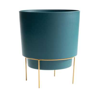 Hopson Medium 10 in. Charleston Green Planter with Metal Gold Stand - Home Depot