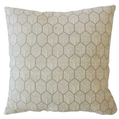 "Cahya Geometric Pillow Nutria - 22"", down insert - Linen & Seam"