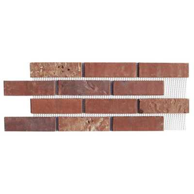 Old Mill Brick Brickweb Independence 8.7 sq. ft. 28 in. x 10-1/2 in. x 1/2 in. Clay Thin Brick Flats (Box of 5), Red - Home Depot