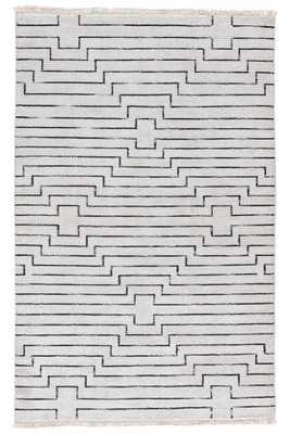 Alloy Handmade Geometric White/ Black Area Rug 5'x8' - Collective Weavers