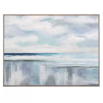 """30"""" x 40"""" Cyan Sunrise by Nan Wrapped Framed Canvas Painting Blue - Fine Art Canvas - Target"""