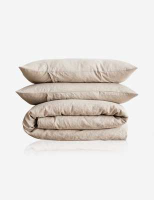 Cultiver Linen Bedding, Natural Duvet Set Queen - Lulu and Georgia